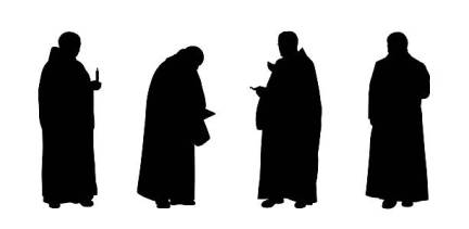 silhouettes of four christian monks standing in different postures